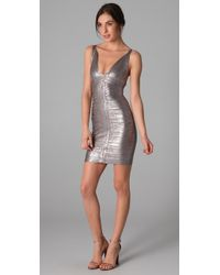 Hervé Léger | Metallic Foil V Neck Dress | Lyst