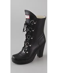 Hunter | Black Gabby Lace Up High Heel Boots | Lyst
