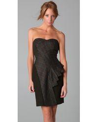 L.A.M.B. - Green Strapless Plaid Bustier Dress - Lyst