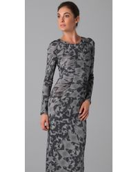 Matthew Williamson - Gray Leopard Jersey Keyhole Column - Lyst