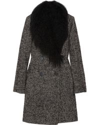 MICHAEL Michael Kors | Black Shearling Trimmed Tweed Coat | Lyst