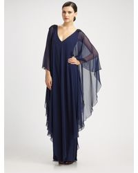 Notte by Marchesa | Blue Silk Caftan Gown | Lyst