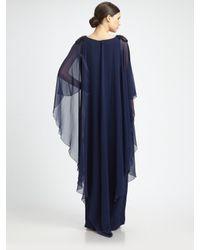 Notte by Marchesa - Blue Silk Caftan Gown - Lyst