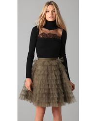 RED Valentino | Black Turtleneck Sweater with Lace | Lyst