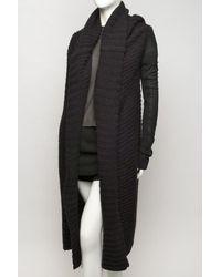 Rick Owens - Black Leather-sleeve Sweater Coat - Lyst