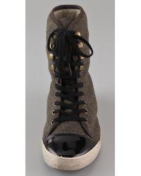 Sam Edelman | Green Cori Sherpa High Top Sneakers | Lyst