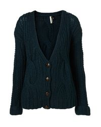 TOPSHOP - Green Hand Knitted Cable Cardigan - Lyst