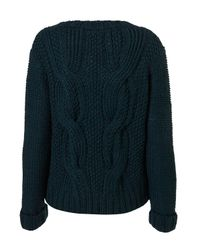 TOPSHOP - Green Hand Knitted Cable Jumper - Lyst