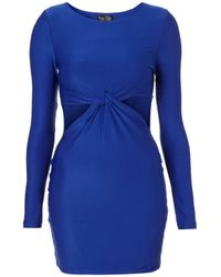TOPSHOP - Blue Twist Cut Out Bodycon Dress - Lyst