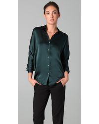 Vince | Blue Satin Tuck Shirt | Lyst