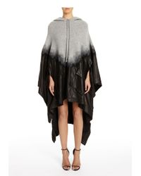 Alexander Wang | Black Hooded Wool & Leather Needle Punch Poncho | Lyst