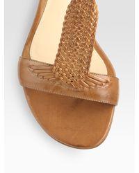 Alexandre Birman   Brown Woven Leather T-strap Sandals   Lyst