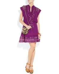 Alice By Temperley | Purple Mini Giselle Embroidered Silk-crepe Dress | Lyst