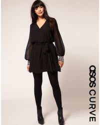 ASOS Collection - Black Asos Curve Wrap Dress with Embellished Cuff - Lyst