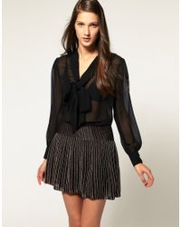 ASOS Collection | Black Asos Georgette Pussybow Blouse | Lyst
