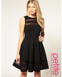 ASOS Collection - Black Asos Petite Exclusive Mesh Insert Fit and Flare Dress - Lyst