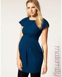 ASOS Collection - Blue Asos Maternity Tulip Dress with Fluted Sleeve - Lyst