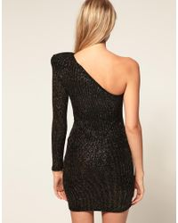 ASOS Collection - Metallic Asos Petite Exclusive Bodycon Dress with One Shoulder Tile Sequin Detail - Lyst