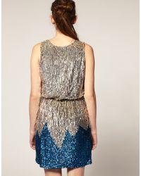 ASOS Collection | Blue Asos Petite Sequin Wrap Front Dress | Lyst
