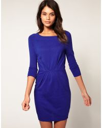 ASOS Collection - Blue Asos Round Neck Pleat Waist Knitted Dress - Lyst