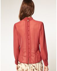 ASOS Collection | Brown Asos Georgette Pussybow Blouse | Lyst