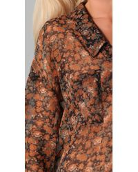 Free People | Black Floral Easy Rider Button Down | Lyst