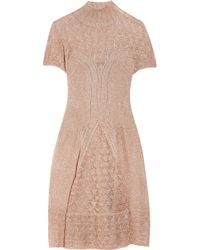 Philosophy di Alberta Ferretti | Pink Metallic Crochet-knit Dress | Lyst