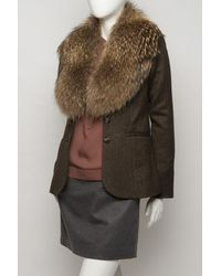 Veronica Beard | Green Herringbone Jacket with Fur Collar | Lyst