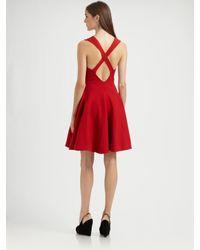 Saint Laurent - Red Criss Cross Back Dress - Lyst