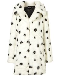 TOPSHOP | Black Dalmatian Oversized Faux Fur Coat | Lyst