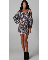 Beyond Vintage | Gray Cutout Shoulder Long Sleeve Dress | Lyst