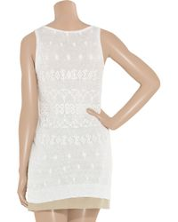 DKNY - White Broderie Anglaise Cotton-blend Tunic - Lyst