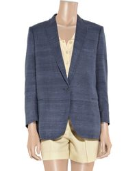 Stella McCartney | Blue Oversized Silk-tussah and Linen-blend Blazer | Lyst