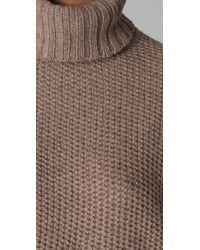 Vince | Brown Honeycomb Turtleneck Sweater | Lyst
