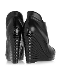 Saint Laurent | Black Leather and Patent-leather Wedge Ankle Boots | Lyst