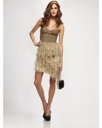 Alice + Olivia | Metallic Lucille Beaded Bustier Tier Dress | Lyst