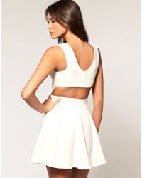 ASOS Collection | White Asos Skater Dress with Open Back | Lyst