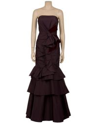Carolina Herrera | Brown Tiered Contrast Bow Gown | Lyst