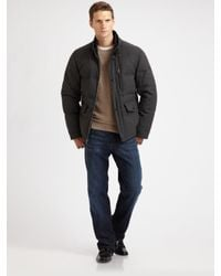 Cole Haan | Gray Flannel Down Jacket for Men | Lyst