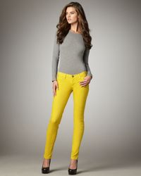 Current/Elliott | Yellow Skinny Ankle Pants, Lemongrass | Lyst