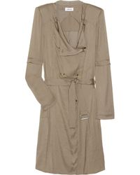 Helmut Lang | Green Satin Trench Coat | Lyst
