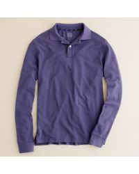 J.Crew | Blue Repp Piqué Long-sleeve Polo in Original Fit for Men | Lyst