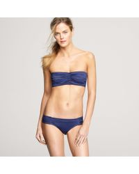 J.Crew | Blue Ruched Bandeau Hidden Underwire Top | Lyst