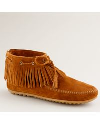 J.Crew | Brown Minnetonka® Pull-on Fringe Booties | Lyst