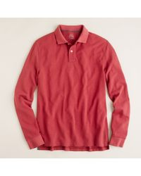J.Crew | Red Repp Piqué Long-sleeve Polo in Original Fit for Men | Lyst