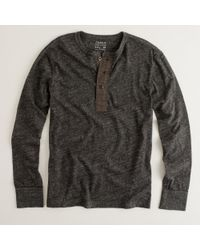 J.Crew | Gray Heathered Jersey Henley for Men | Lyst