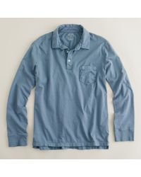 J.Crew | Blue Broken-in Long-sleeve Pocket Polo for Men | Lyst