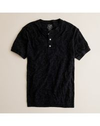 J.Crew | Black Jaspé Short-sleeve Henley for Men | Lyst