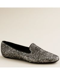 J.Crew | Gray Darby Glitter Loafers | Lyst