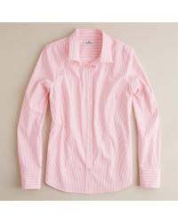 J.Crew | Pink Stretch Perfect Shirt in Classic Stripe | Lyst